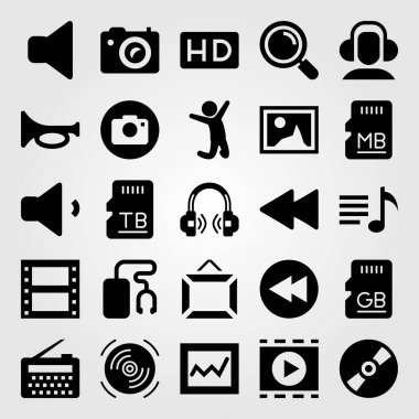 Multimedia vector icon set. frame, loupe, compact disc and radio