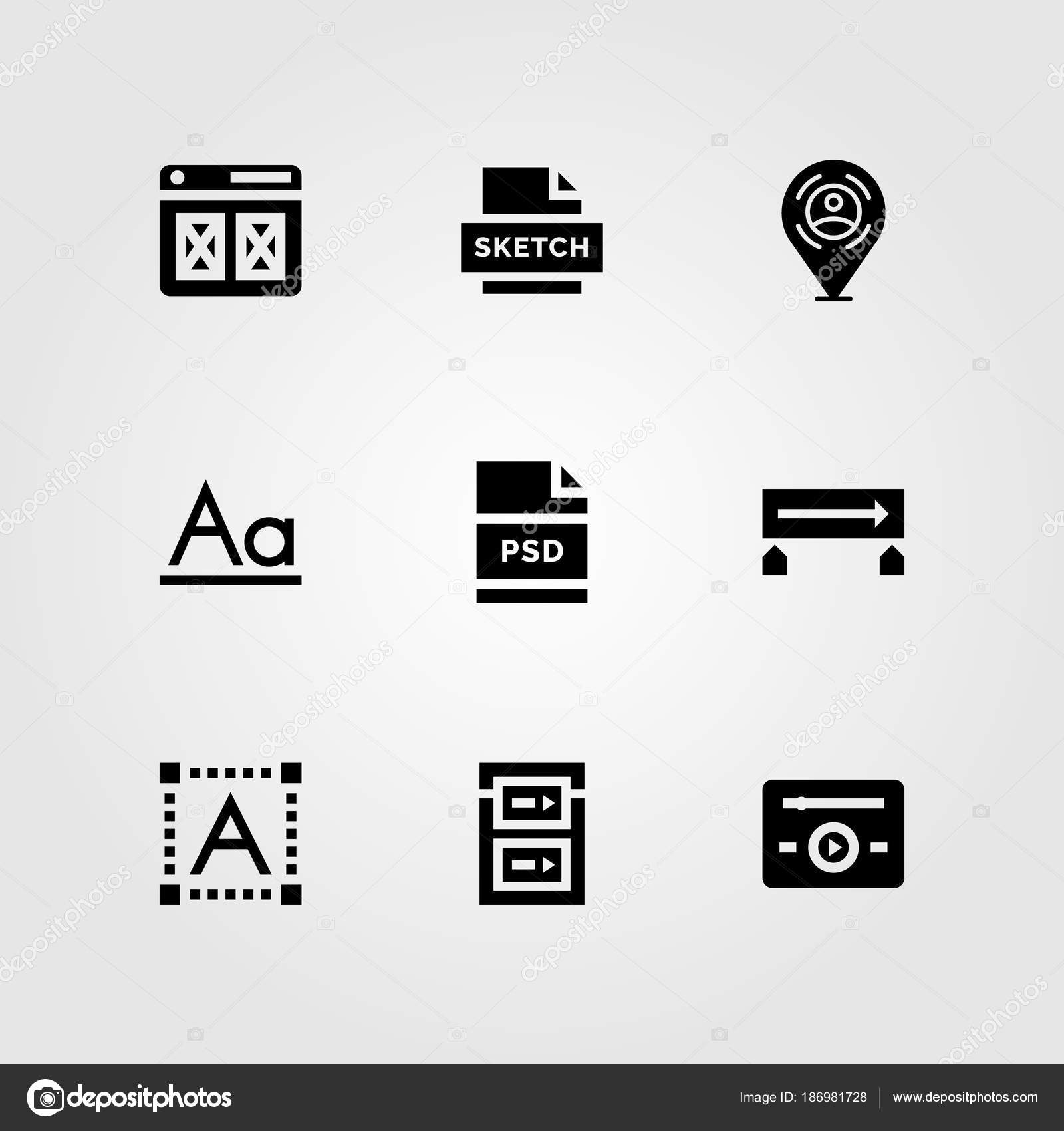 Web Design vector icon set  gradient, font, music player and browser