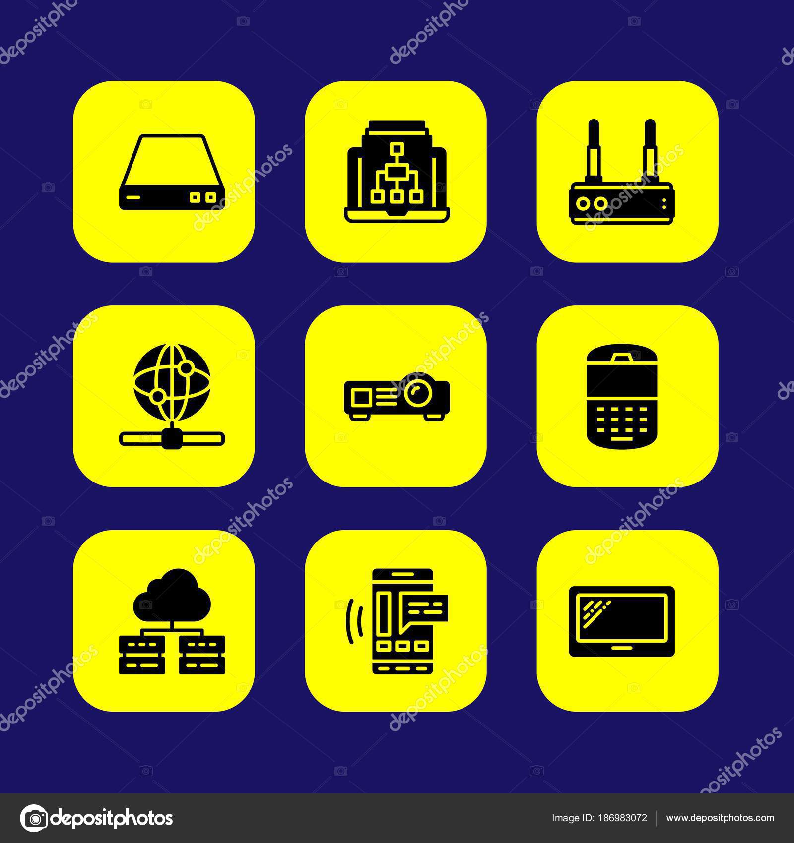 Technology vector icon set tablet server router and internet technology vector icon set tablet server router and internet vector by salamzadeh greentooth Image collections