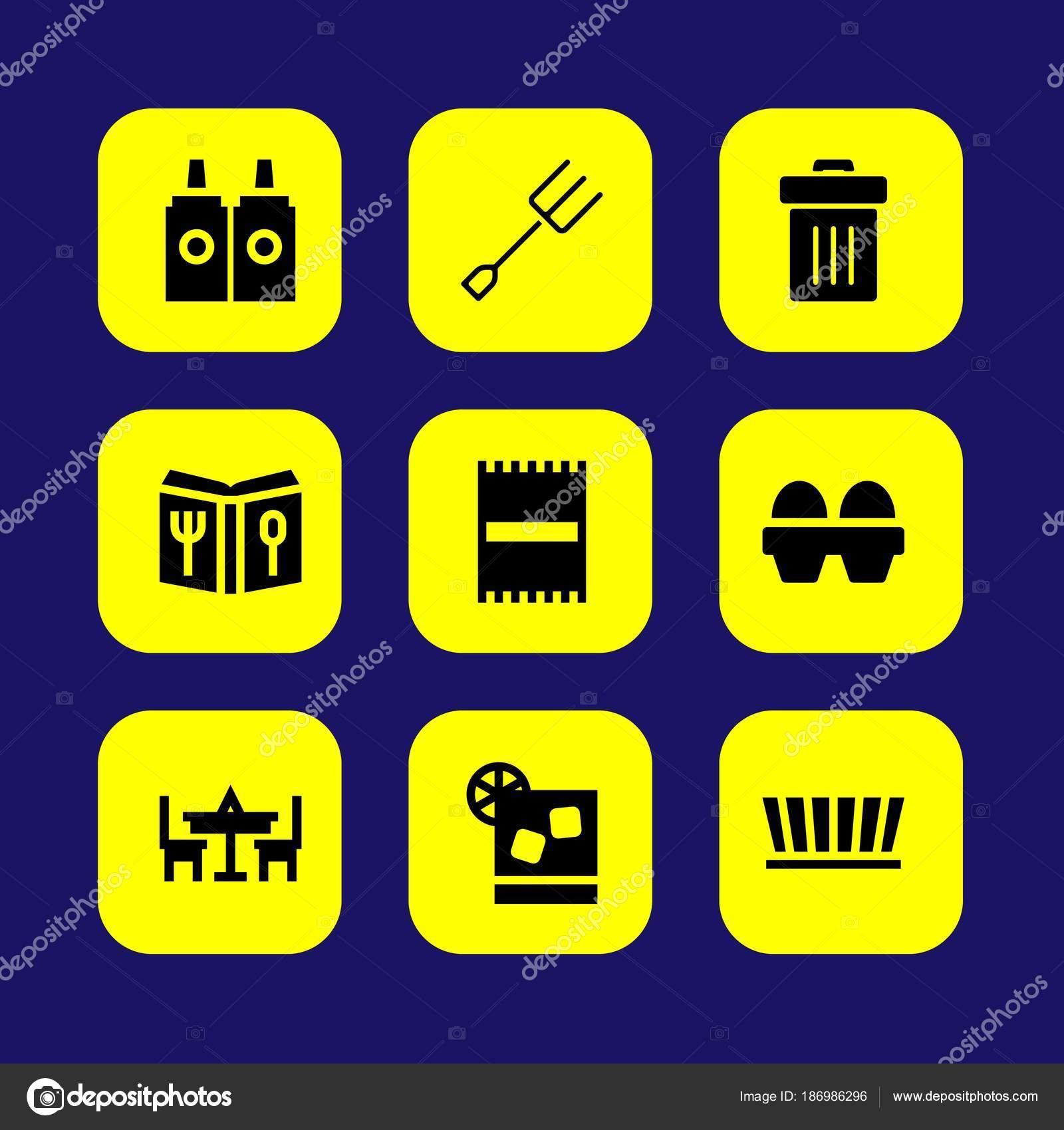 Küche-Vektor-Icon-Set. Trash, Saucen, Strandtuch und Eiern ...