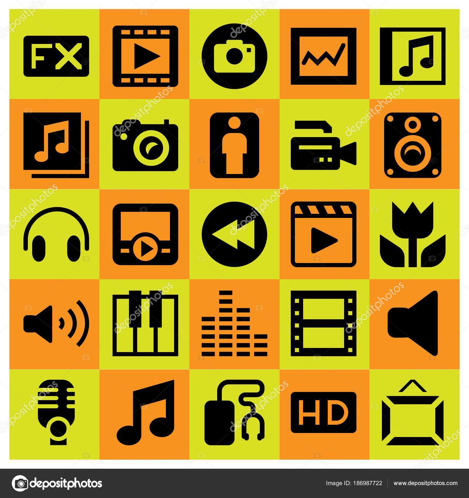 Multimedia Icon Set Vector Keyboard Fx Musical Note And Rewind