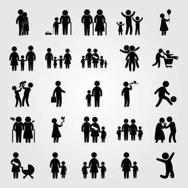 Humans vector icon set. couple, man giving flowers, girl with butterflies and woman