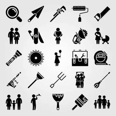 Tools icon set vector. handsaw, girl, family and hammer drill