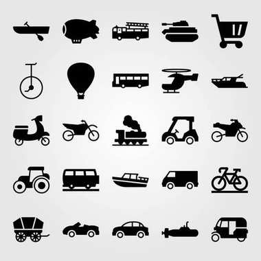 Transport vector icon set. bicycle, fire truck, tractor and tank