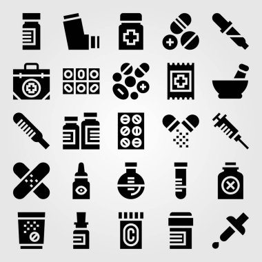 Medical vector icon set. bottle, thermometer, tube and pipette