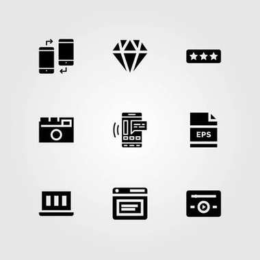 Web Design vector icon set. smartphone, laptop, eps and music player