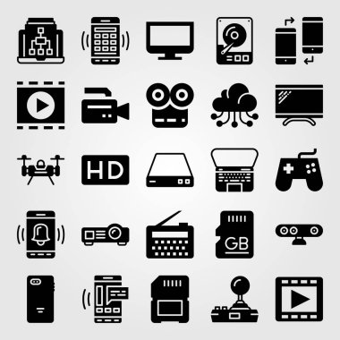 Technology vector icon set. monitor, radio, memory and webcam