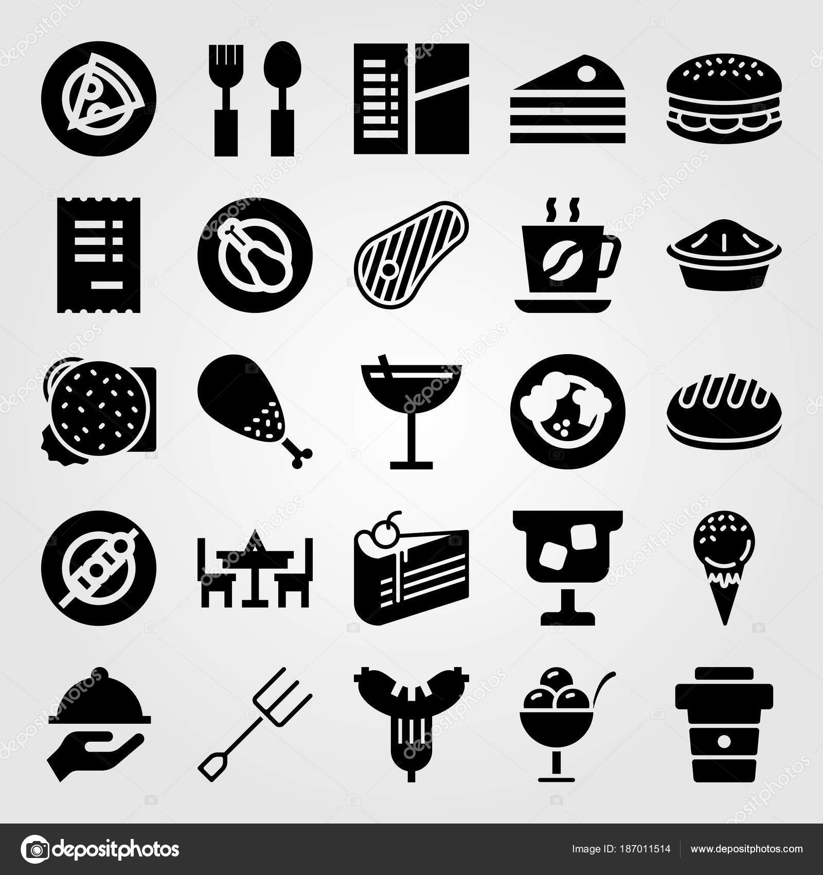Restaurant Vektor Icon Set Burger Tisch Kuchen Und Kaffee Tasse