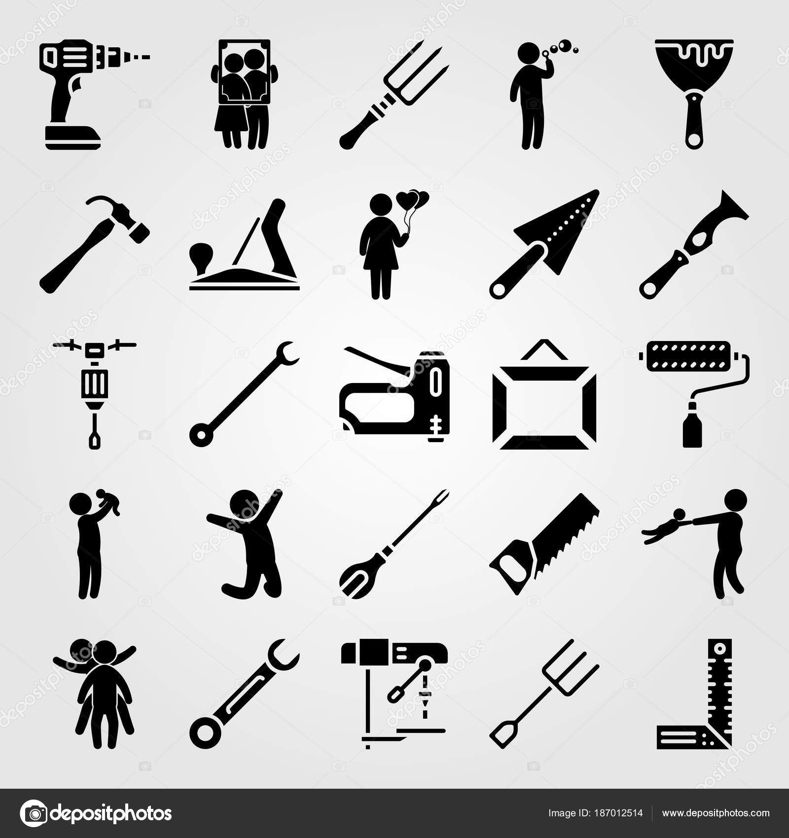 conjunto de ícones de ferramentas vetoriais rolo de pintura plano