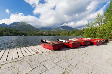 Panorama mountain lake Strbske Pleso in the Tatra mountains. Summers colors and boat for swimming