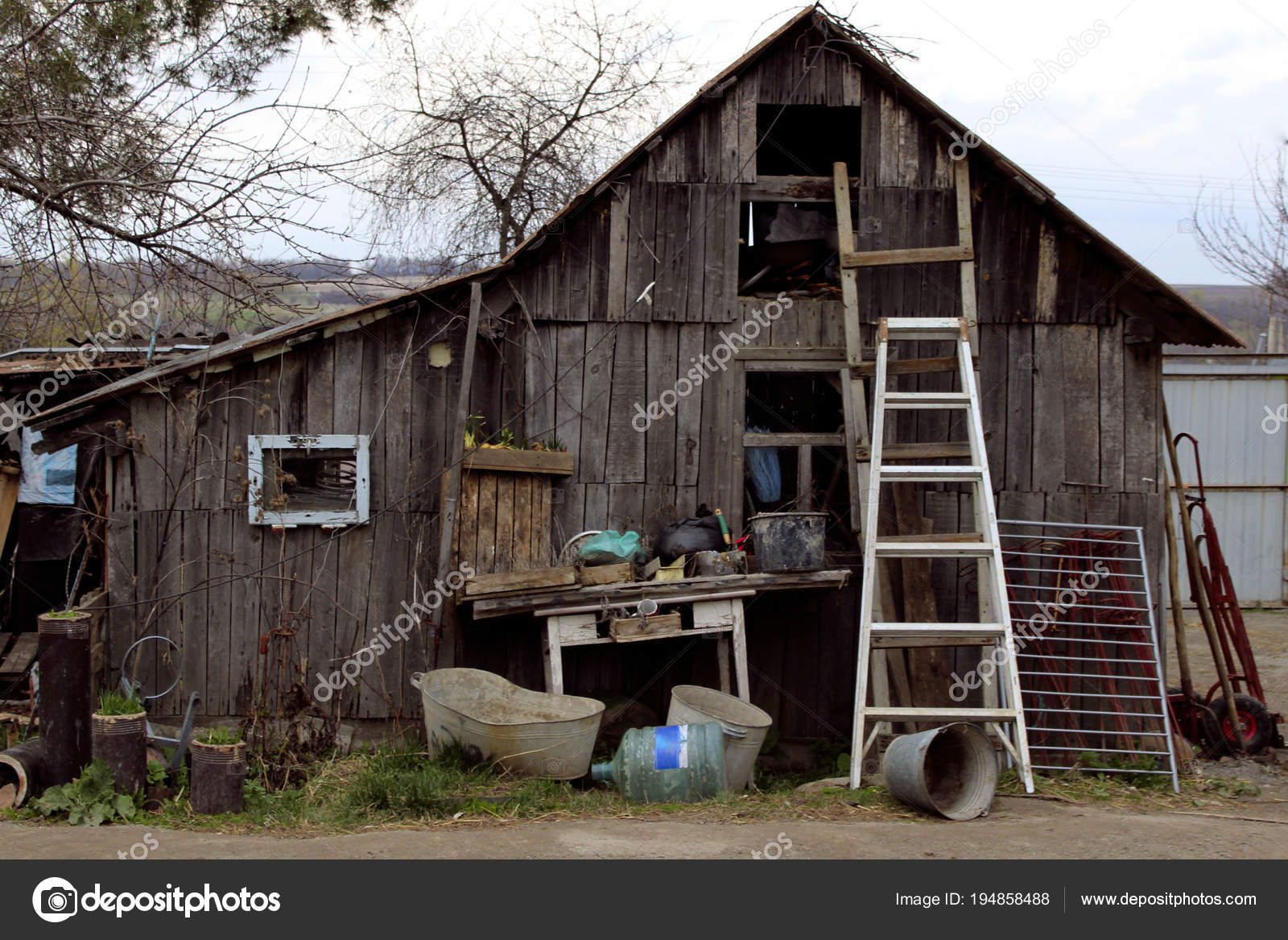 Old Small Wooden House Non Residential Old House Wooden Staircase Stock Photo C Stepunina Gmail Com 194858488