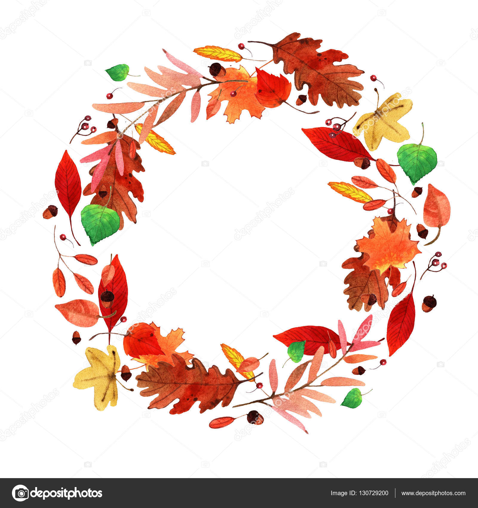 watercolor autumn leaves wreath stock photo shat88 130729200