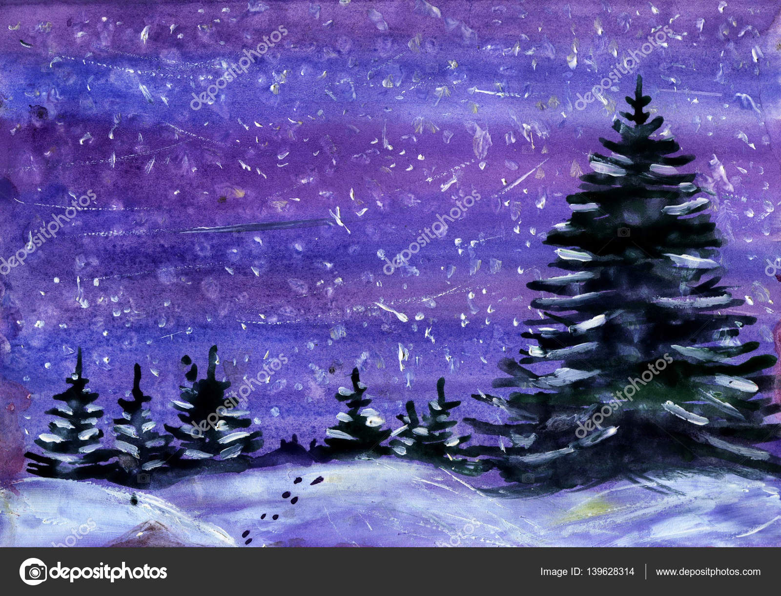 Kış Manzara Suluboya çizimi Stok Foto Shat88 139628314
