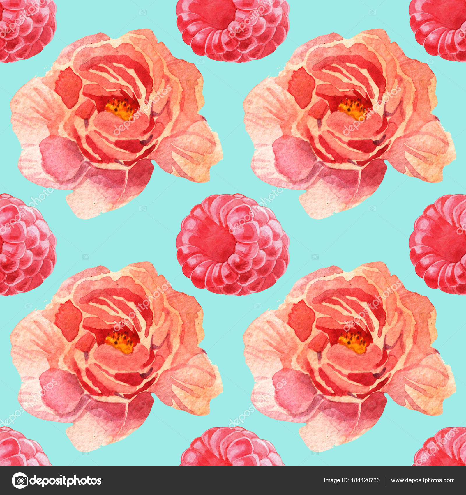 Watercolor Pink Flowers And Berries Seamless Pattern Stock Photo