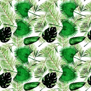 Watercolor tropical palm leaves seamless pattern illustration. stock vector