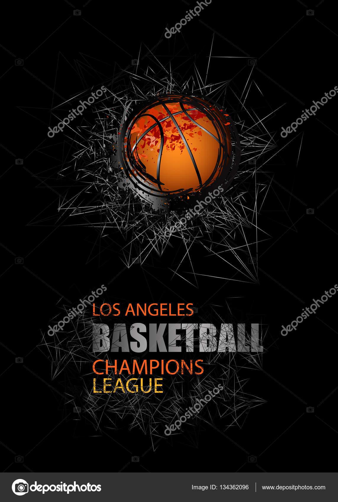 Modern Design for the basketball championship. Banner, flyer template  sports. Grunge ball. 15
