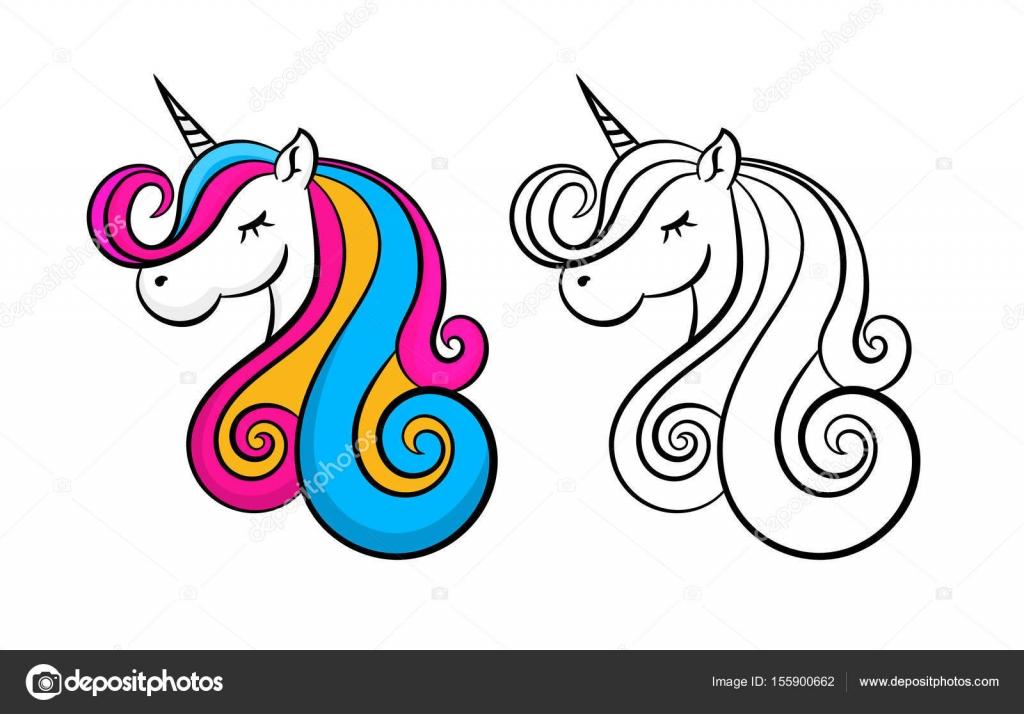 Unicornio hermoso color, contorno, contorno. Diseño para niños ...