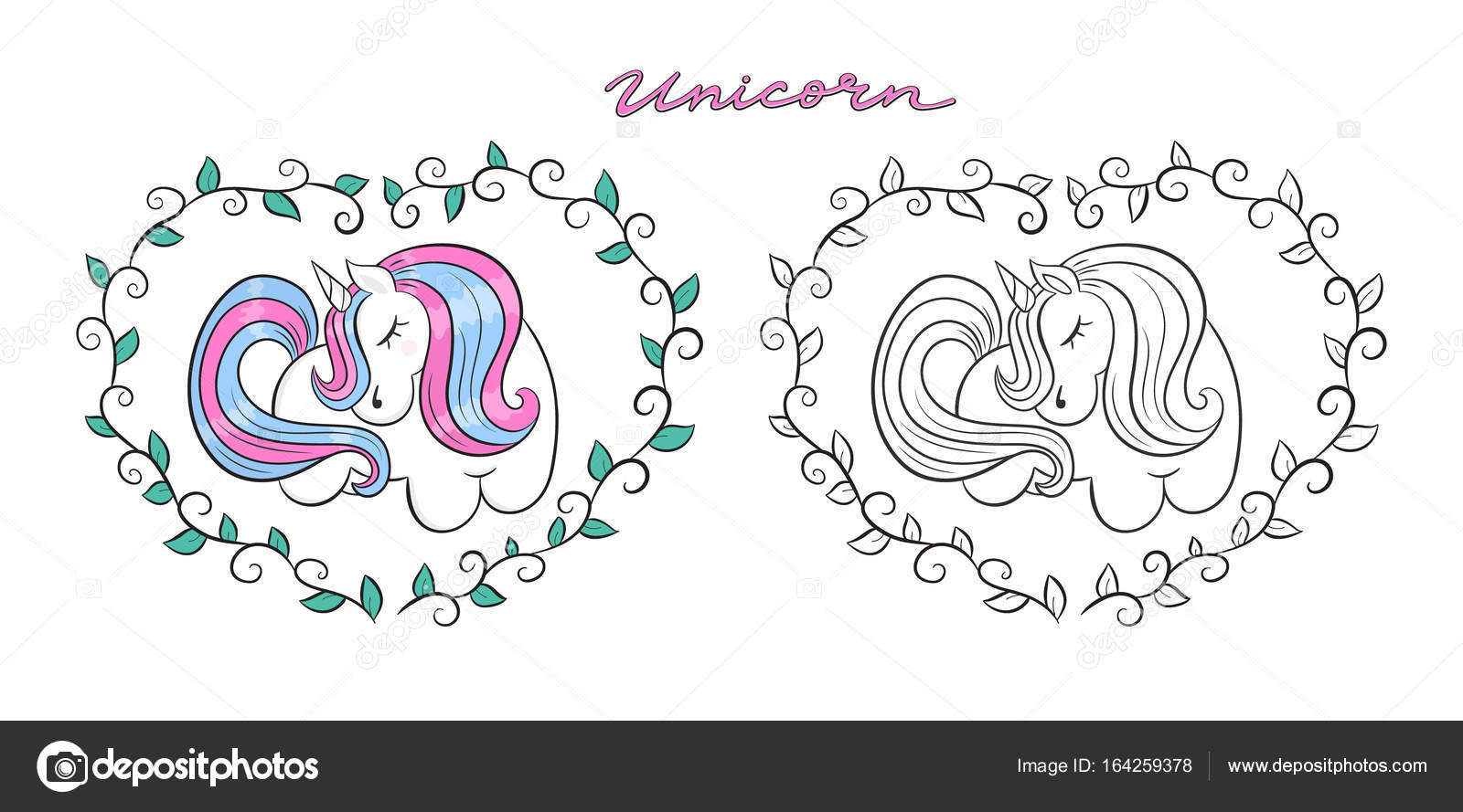 Color Cute Unicorn, Outline, Contour. Print Design For Children, Baby On A