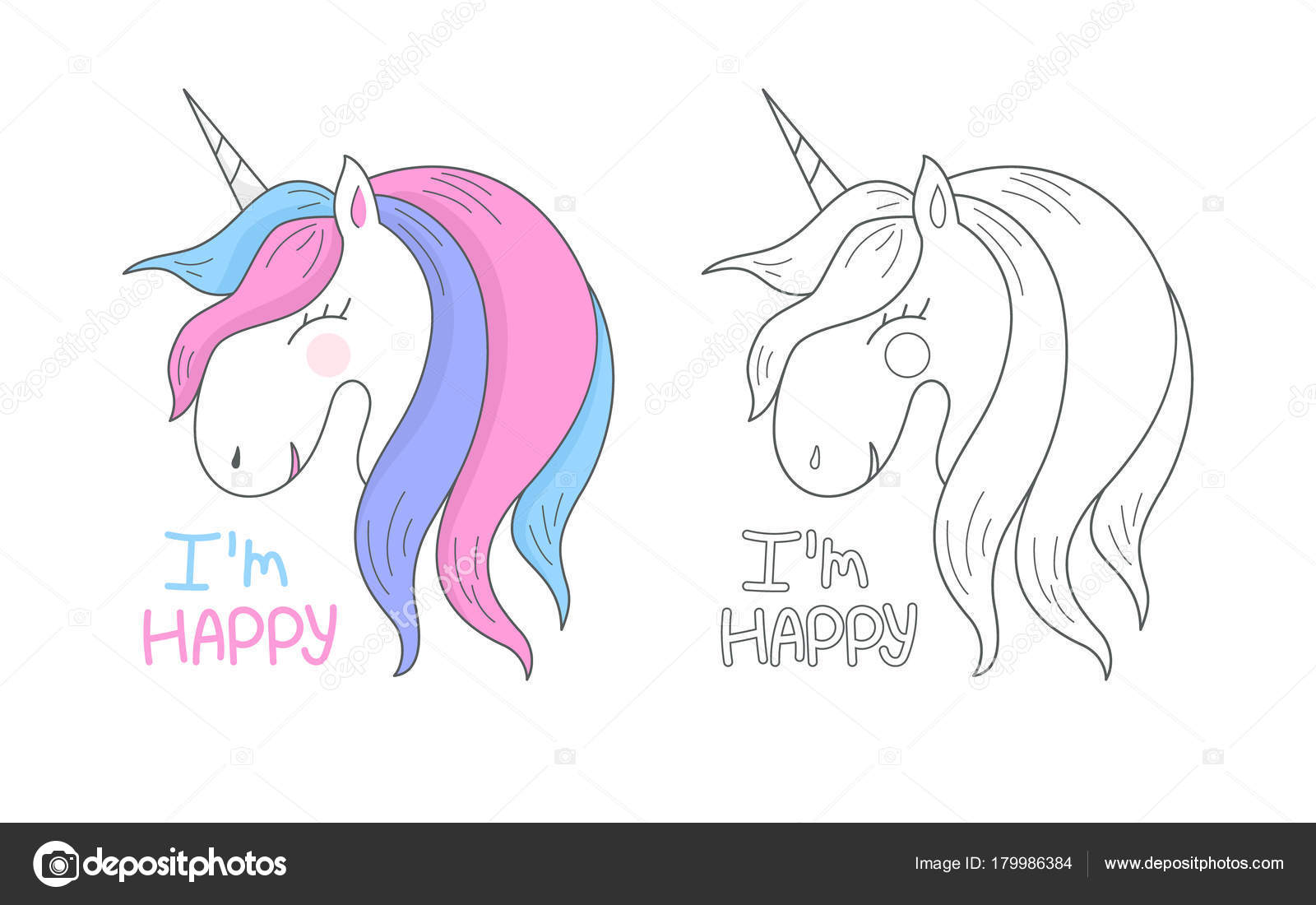 Vector Happy Cute Unicorn Isolated On White Background. Head Portrait  Horse, Outline, Contour. T Shirt Graphic For Kidu0027s Clothing. Use For Print  Design, ...