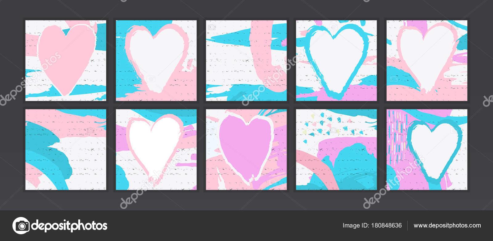 Sammlung Von Künstlerischen, Bürsten, Abstrakten Hintergrund. Rosa Herzen.  Abbildungen, Bilder Zum Valentinstag. Moderne Abstrakte Decken U2014 Vektor Von  ...
