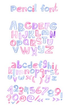 Hand drawn with color pencils abc letters sequence. Capital and