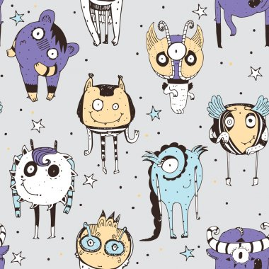 Cute seamless doodle pattern with lovely hand drawn monsters, dots and stars on grey background. Vector illustration with alien mascot characters. Cartoon image, good in child illustration