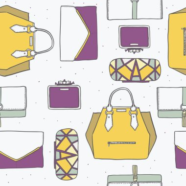Seamless vector illustration with cute yellow, purple and grey handbags and clutches in fashion stylish pattern. Hand drawn background, drawn with imperfections on white dotted background.