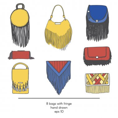 Stylish collection of 9 fashion vector bags with fringe, isolated on white background. Color illustration in red, yellow and blue. Hand drawn fashion trend glamour set kit in vogue style