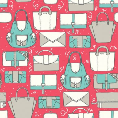 Seamless vector illustration with cute teal and grey handbags and clutches in fashion stylish pattern. Hand drawn background, drawn with imperfections on pink background.