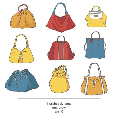 Stylish collection of 9 fashion formless vector bags, isolated on white background. Color illustration with bags in red, yellow and blue. Hand drawn fashion trend glamour kit in vogue style