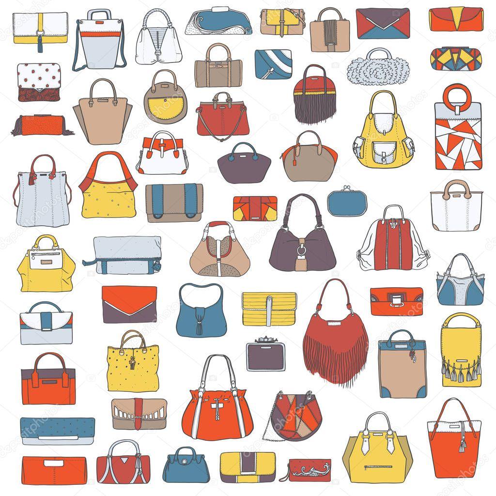 Conjunto de vector grande de colorido doodle bolsas de moda, mano ...
