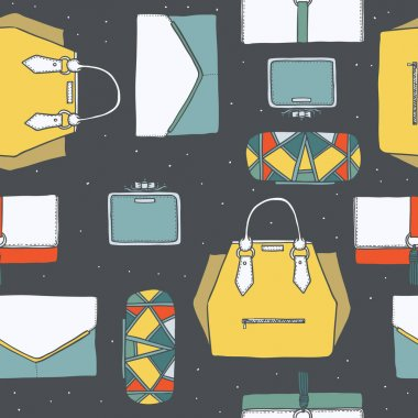 Seamless vector illustration with cute yellow, purple and grey handbags and clutches in fashion stylish pattern. Hand drawn background, drawn with imperfections on dark grey dotted background.