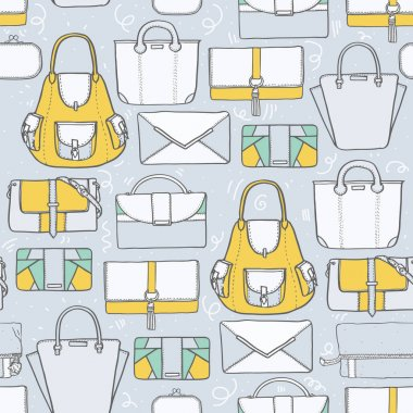Seamless vector illustration with cute yellow and grey handbags and clutches in fashion stylish pattern. Hand drawn background, drawn with imperfections on grey background.