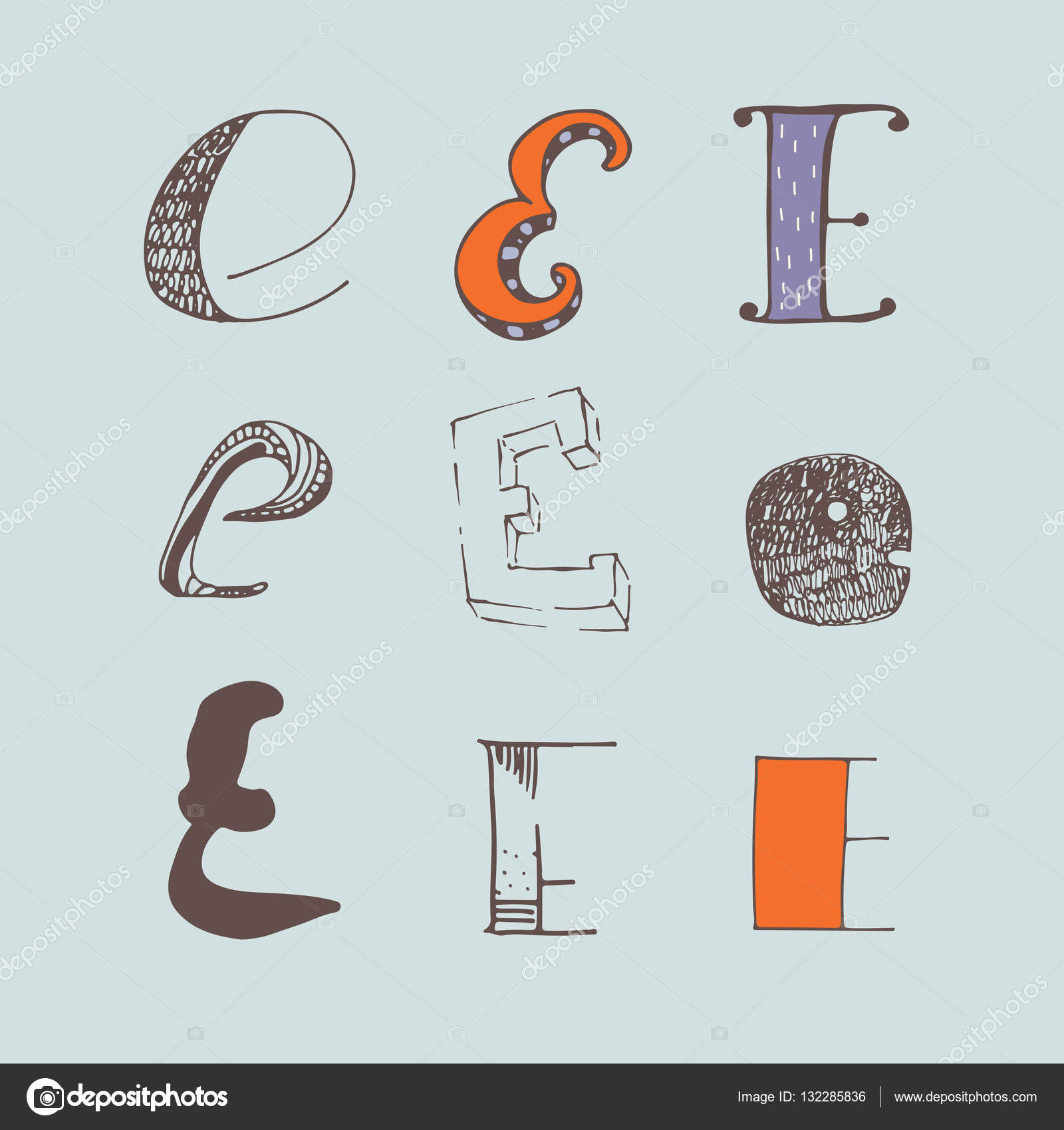 Vector Set Of Colorful Alphabet Letters E Isolated On Light Blue