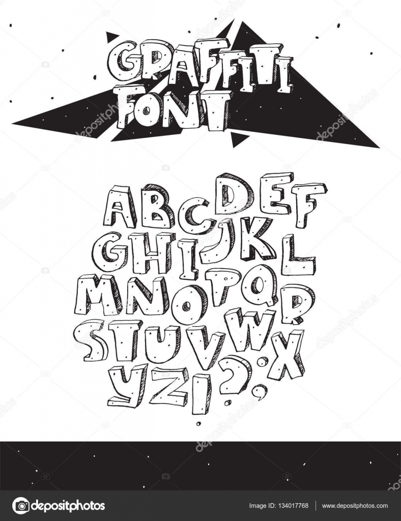 Vector hand drawn illustration with black and white imperfect graffiti font isolated on white 3d letters sequence from a to z with ink hatch and dots
