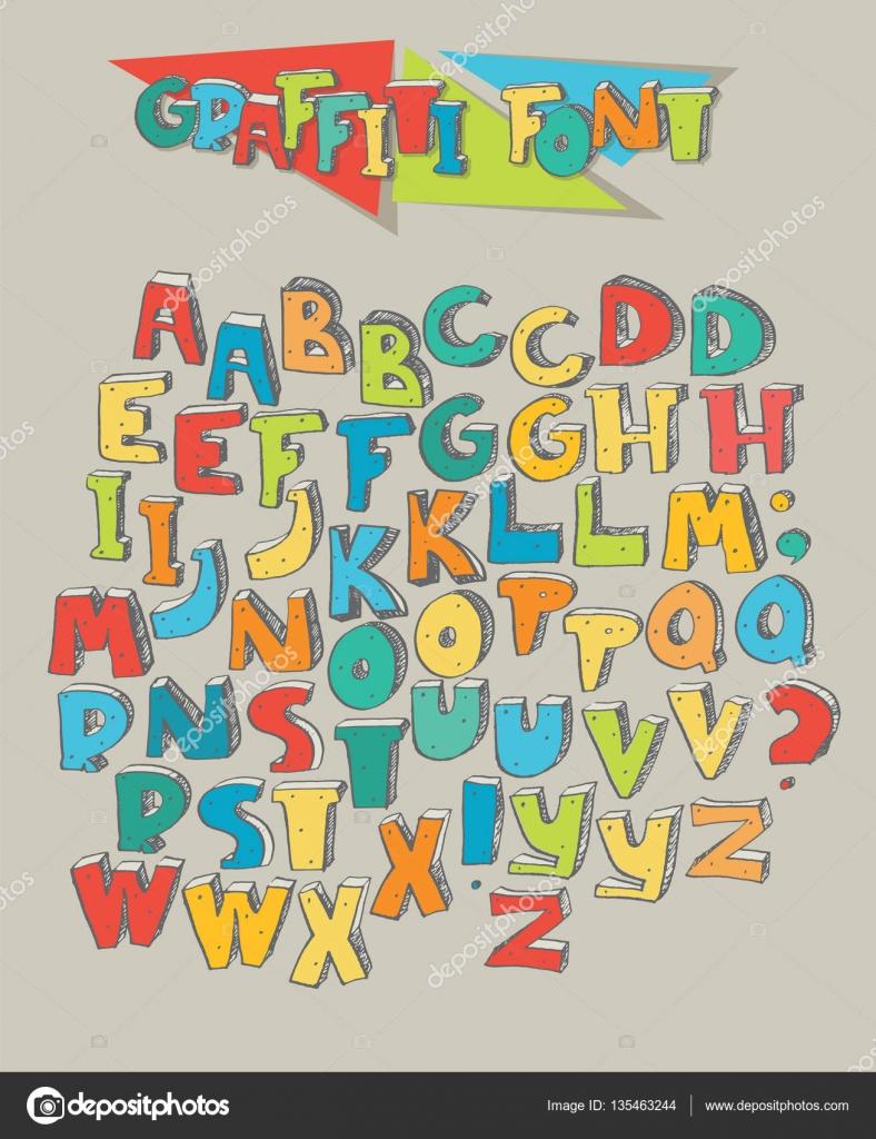 Bej renkli arka plan üzerinde izole renkli grafiti harf büyük kümesi harfleri sırayla adan zye yaratıcı yazı için iki farklı renk versiyon