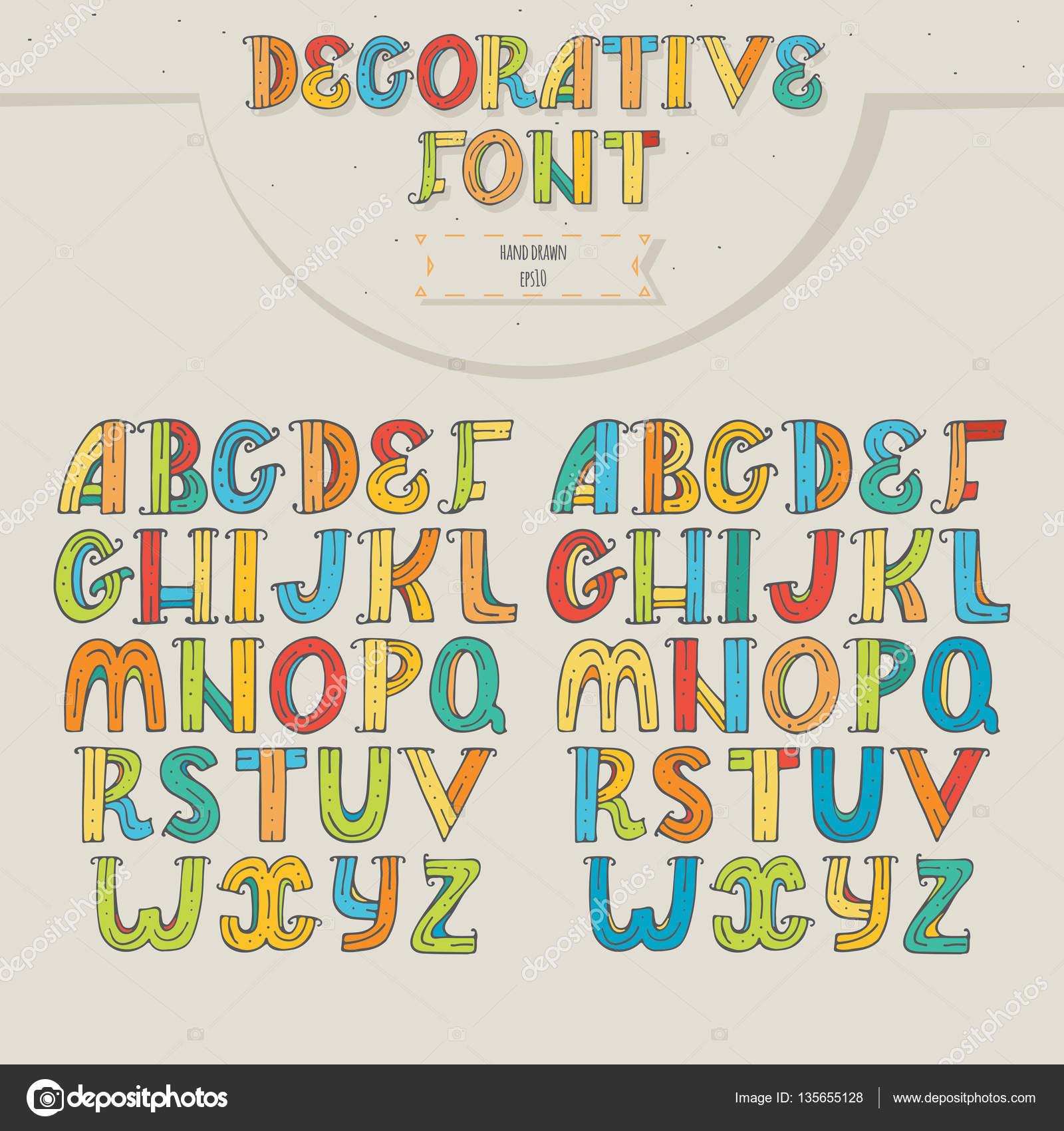 Büyük renkli dekoratif harfleri bej renkli arka plan üzerinde ayarlayın harfleri sırayla adan zye yaratıcı yazı için iki farklı renk versi