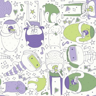 Cute seamless pattern with lovely doodle monsters eating, staying and looking at spectator. Purple and green creatures on light background. Lovely childish design, good for wrapping paper, wallpaper
