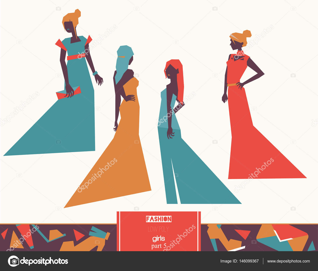 Mode Avondjurken.Vector Mode Meisjes In Verschillende Avondjurken Kleding