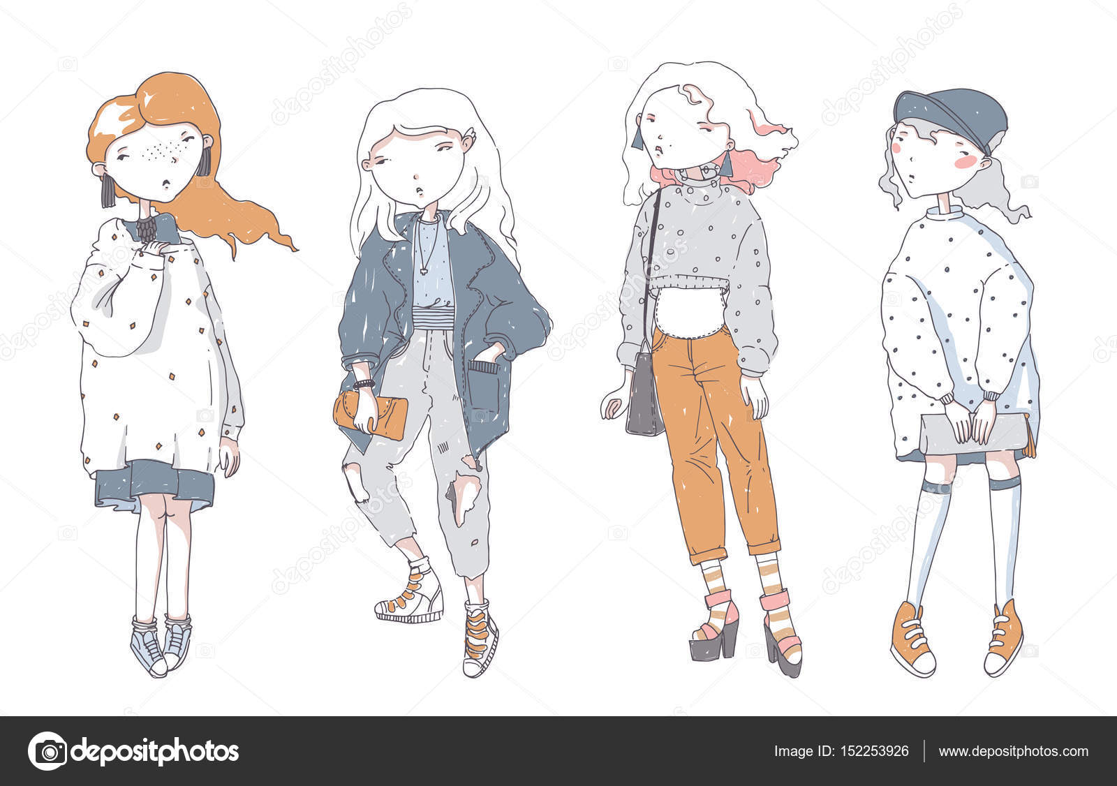 Hipster Cute Girls In Casual Clothes, Hand Drawn, Isolated