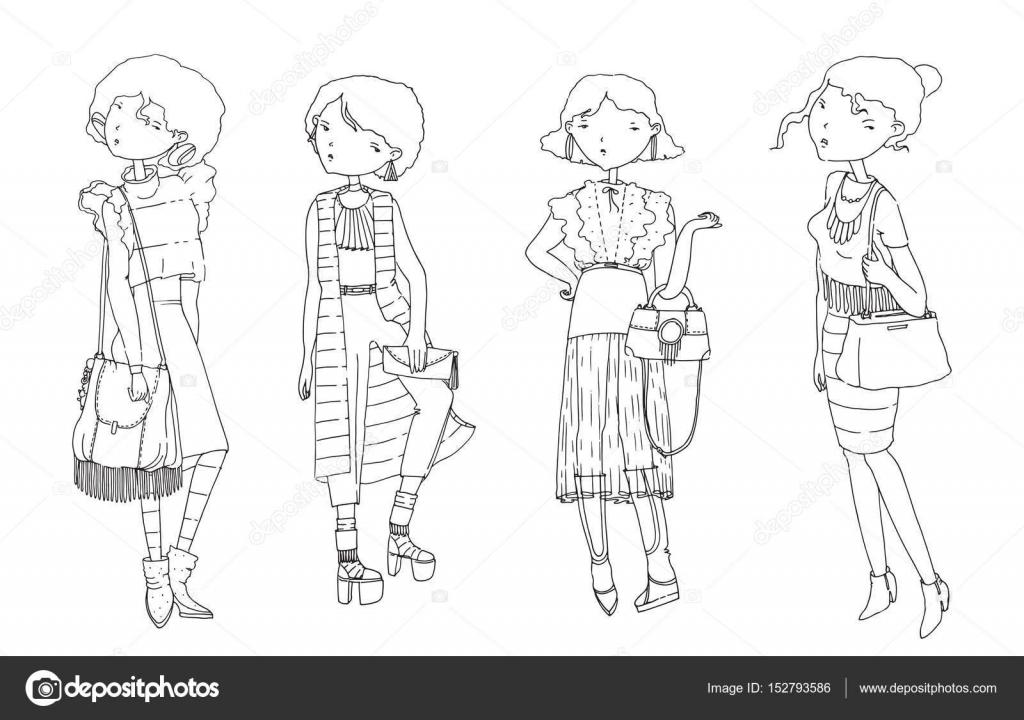 Vector Con Mano Dibujado Chicas De Moda En Ropa Casual