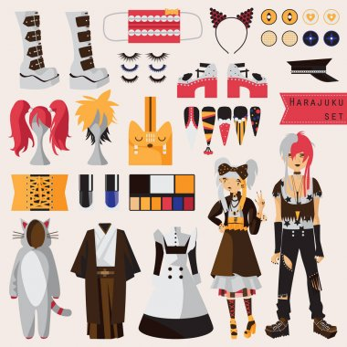 Bright set with subculture of japanese harajuku street fashion, couple in visual kei style with accessories for cosplay and creative fashion, Kimono, maid dress, nails, wigs, shoes on high platform