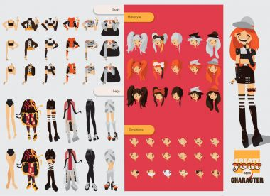 Constructor with spare parts for lovely visual kei girl. Different hairstyles, emotions, accessories, posing for hands and legs positions. Creative collection with subculture lolly style, gothic
