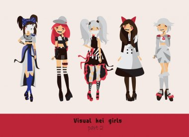 Lovely visual kei girls. Different hairstyles, emotions, accessories, posing isolated on background. Creative collection with subculture lolly style, gothic.