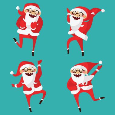 Set with lovely dancing Santa Claus, hand drawn in different dan