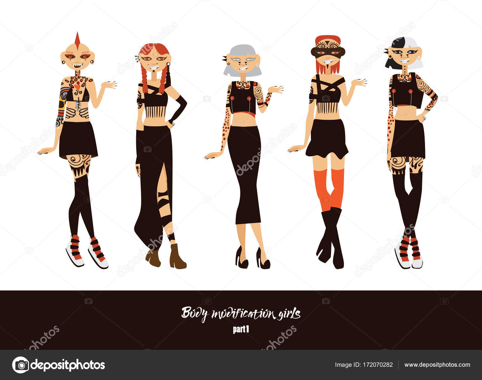 Vector set with lovely young girls with body modifications as donuts ...