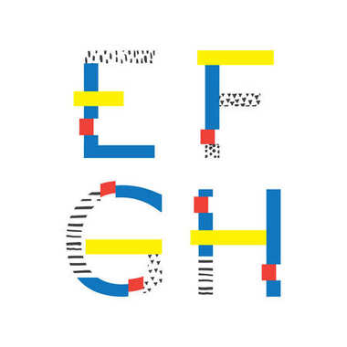 Vector set with geometric style letters sequence E, F, G and H. Hand drawn elements, bright colors with glitch effect