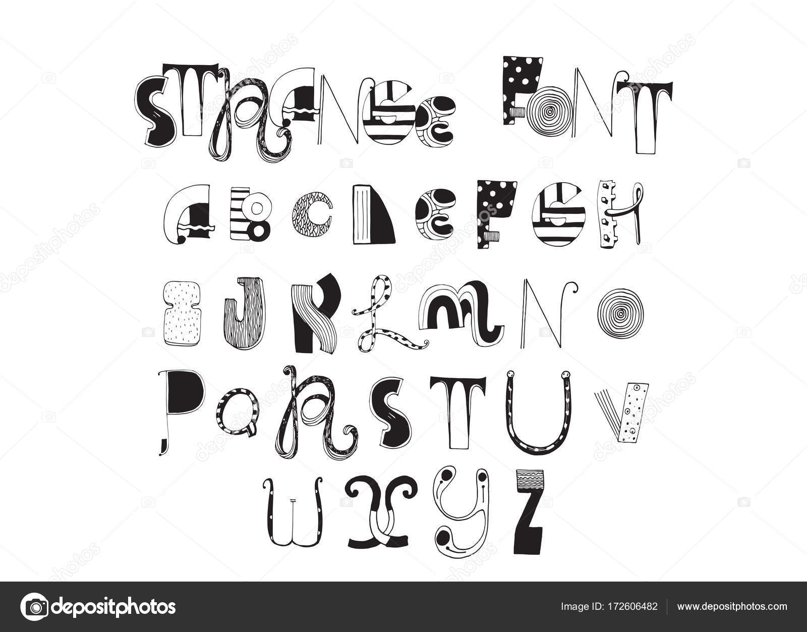 Various Shapes Abc Letters Hand Drawn With Ink And Decorated Different Styles English Font