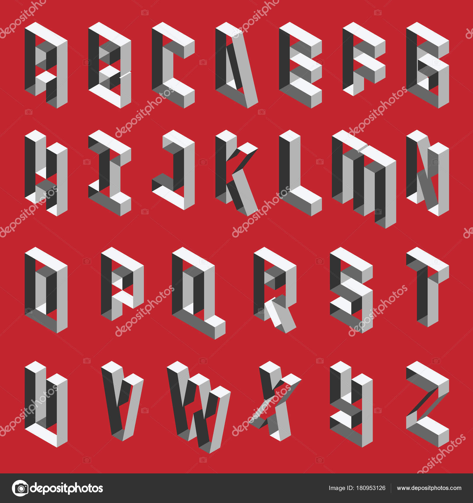 Isometric Hollow Letters In Shades Of Grey Vector Collection For