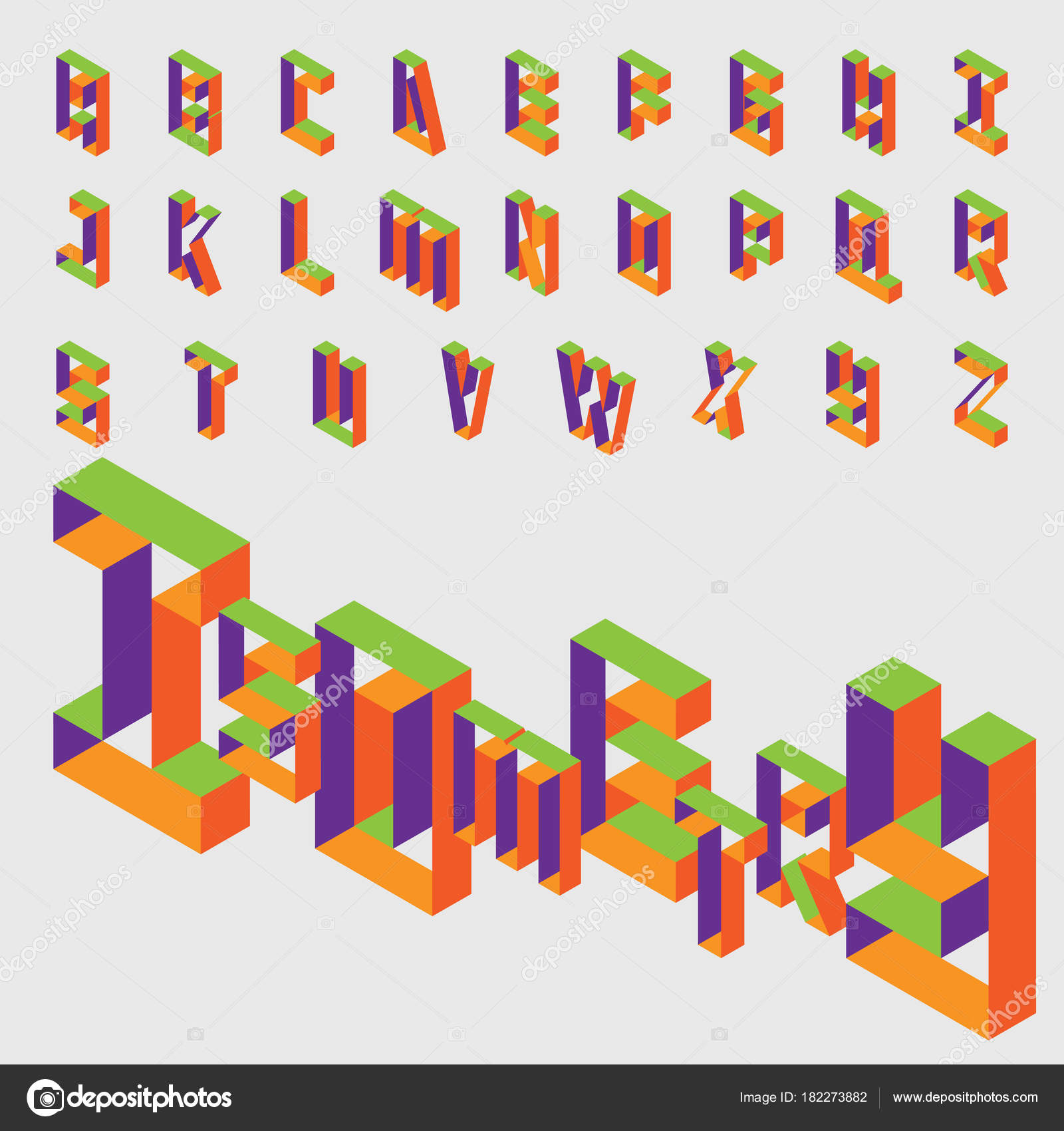 Isometric Hollow Letters In Bright Colors Vector Collection For